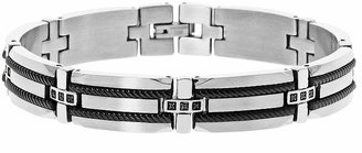 Black Diamond FINE JEWELRY Mens 1/7 CT. T.W. Stainless Steel & Black IP Bracelet