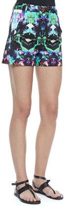 Milly Graphic-Print True-Waist Shorts