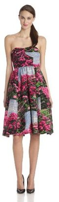 Tracy Reese Women's Rhododendron Printed Strapless Fit and Flare Dress