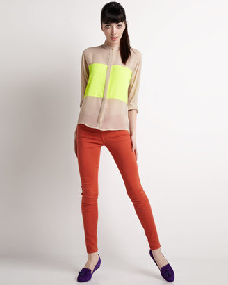 Naven Two-Tone Oversize Blouse, Nude/Neon Yellow