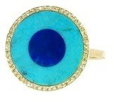 Jennifer Meyer Turquoise and Lapis Inlay Ring with Diamonds - Yellow Gold