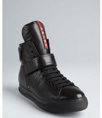 Prada Sport black leather side zip oversized tongue high-top sneakers