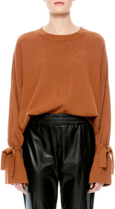 Alice + Olivia Leighton Relaxed Pullover with Tie Cuffs