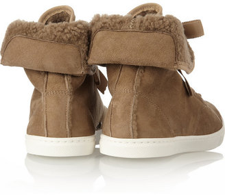 Lanvin Suede and shearling high-top sneakers