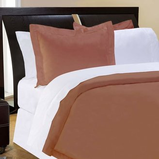 Pointehaven Solid 500-Thread Count Cotton Sateen 3-pc. Brown Duvet Cover Set - Full/Queen