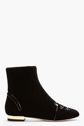 Charlotte Olympia Black Velvet Puss In Boots Ankle Boots