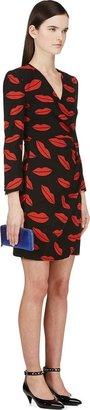Saint Laurent Black Silk Chiffon Lips Wrap Dress