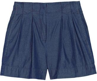 Theory Eban high-waisted chambray shorts