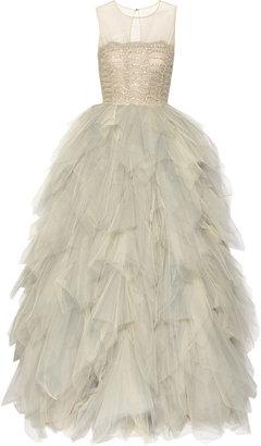 Oscar de la Renta Embroidered tulle gown