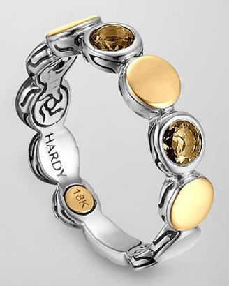 John Hardy Batu Dot Gold/Silver Smoky Quartz Band Ring