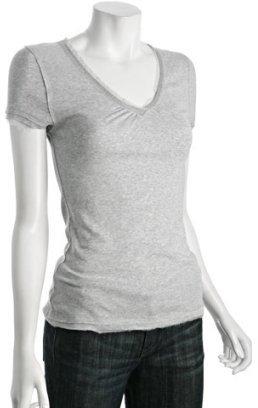 linQ grey chiffon trim v-neck t-shirt