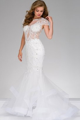 Jovani Fully beaded Sheer Neckline Mermaid Dress 50220