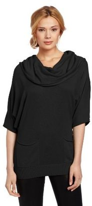 Vince Camuto Women's Short Sleeve Cow Neck Sweater With Pockets