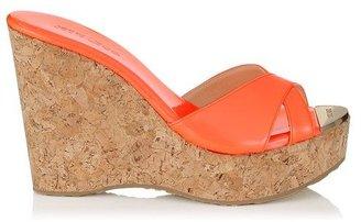 Jimmy Choo Perfume Patent Leather Wedge Sandals