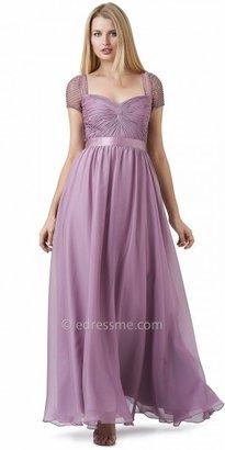 Adrianna Papell Beaded Short Sleeve Chiffon Long Evening Dresses