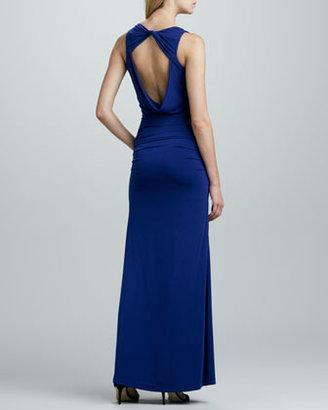 BCBGMAXAZRIA Draped Asymmetric Jersey Gown