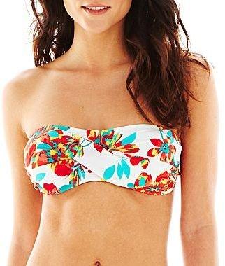 JCPenney Aqua Couture Floral Print Bandeau Swim Top