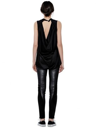 Alice + Olivia Leather High Waist Front Zip Angle Panel Legging