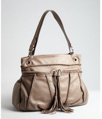 Sondra Roberts taupe pebbled leather tassel shoulder bag