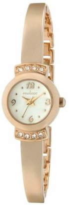 Peugeot Women's Half Bangle Bracelet Wrist Watch - Cristal Accented with Alloy Metal Strap