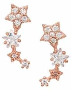 Cezanne Rose Goldtone Crystal Stud Earrings