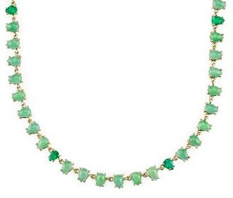 Irene Neuwirth Chrysoprase Teardrop Chain with Colombian Emeralds - Yellow Gold