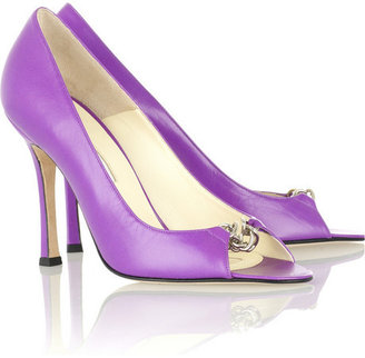 Brian Atwood Daphne leather peep-toe pumps