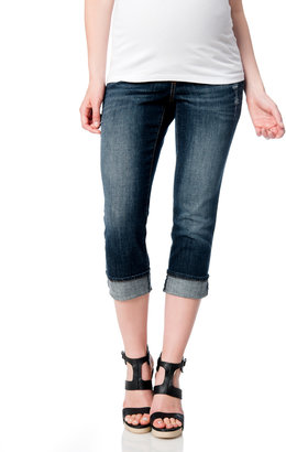Motherhood Indigo Blue Secret Fit Belly Cuffed Maternity Crop Jeans