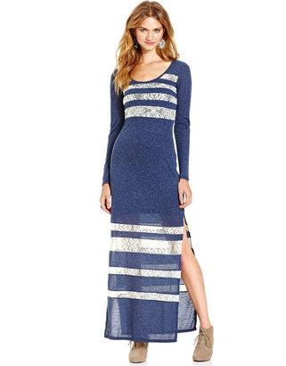 Teen Vogue Dress, L/S Lace Inset Knit Maxi Dress