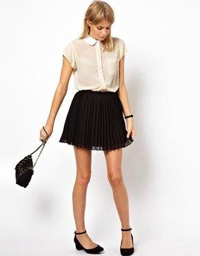 Asos Skater Skirt In Pleats - Black