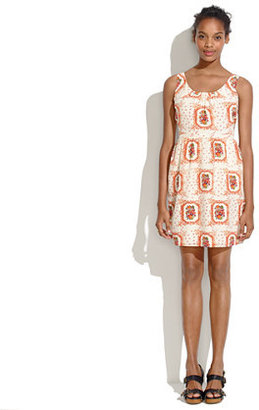 Madewell Silk Twist-Back Tankdress in Floral Frame