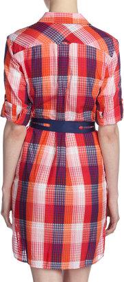 Paperwhite Plaid Voile Shirtdress, Multicolor
