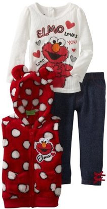Sesame Street Girls 2-6X 3 Piece Elmo Loves You Polka Dot Vest Set