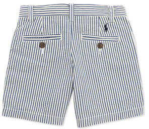 Ralph Lauren Preppy Seersucker Shorts, Blue, Boys' 4-7