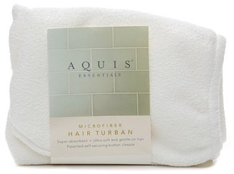 Aquis Essentials Microfiber Hair Turban with Button Closure White