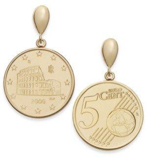 Italian Gold Vermeil Engraved Euro Coin Drop Earrings