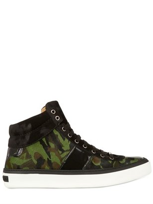 Jimmy Choo Camouflage Pony Skin High Top Sneakers
