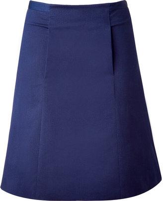 Cacharel Dark Blue Cotton A-Line Skirt