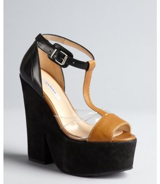 Carven black and tan leather and suede lucite vamp t-strap sandals