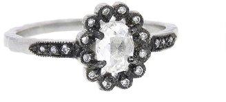 Cathy Waterman Oval Diamond Flower Ring - Platinum