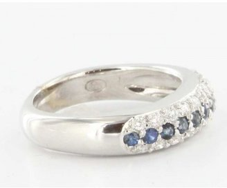575 Denim very good (VG) Estate 18k White Gold 0.30ctw Diamond 0.33ctw Sapphire Square Style Stack Band Ring sz
