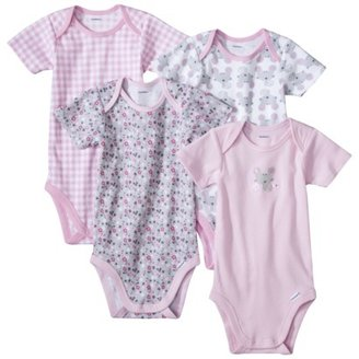 GE Gerber Onesies® Newborn Girls' 4 Pack Mouse - Pink