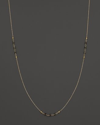 """Mizuki 14K Yellow Gold Wrapped Chain Necklace with Faceted Gold Beads and Faceted Black Diamonds, 36"""""""