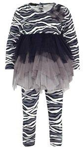 Kate Mack Biscotti Navy, Cream and Grey Zebra Print Jersey Dress