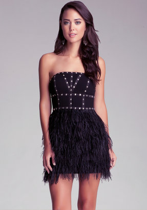 Bebe Strapless Studded Feather Dress