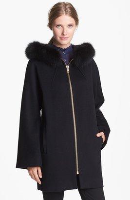 Loro Piana Caruana Genuine Fox Fur Trim Wool Coat