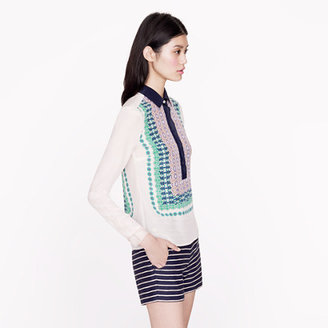 J.Crew Bazaar print silk popover
