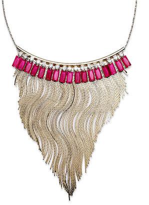 INC International Concepts Gold-Tone Pink Fringe Frontal Necklace