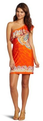 Wrapper One-Shoulder Ity-Border Placement-Print Dress