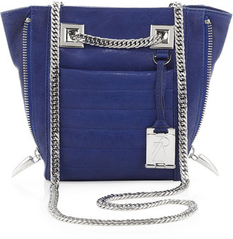 Rachel Zoe Montana Leather Zip-Side Shoulder Bag, Blue